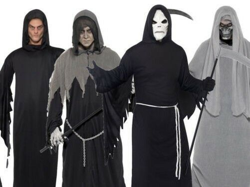 Childs Deluxe Grim Reaper Costume Boys Halloween Ghoul Fancy Dress Outfit Kids
