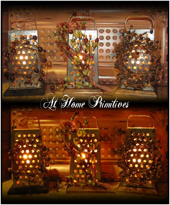 Cheese Grater Electric Lights -  These are great little accent lights for your kitchen counter! I just love the look of light coming through the punched holes. by At Home Primitives