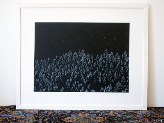Winter Forest Risograph poster A3 forest illustration by EllaMoe