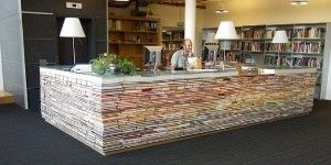 Library reference desk is made up from old books! Delft University of Technology.