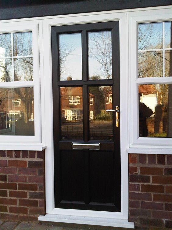 Traditional upvc front door in black https for Reclaimed upvc doors