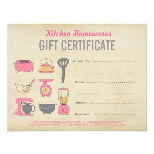 Kitchen Homewares Gift Certificate/Gift Voucher Diy Template