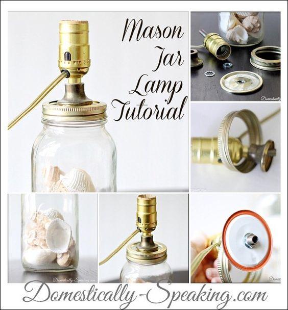 Mason Jar Lamp Tutorial: Domestically-Speaking.com  Use one of my 1/2 gallon blue jars with zinc lid...