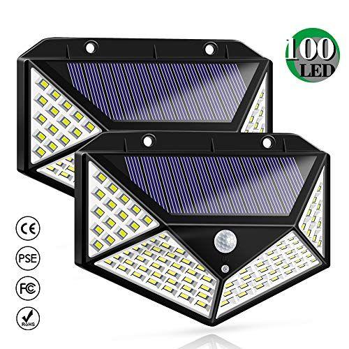 Luz Solar Exterior Bicolor 100 Led Foco Solar Con Sensor De Movimiento Gran Angulo 270º I Luces Solares Iluminacion Solar Al Aire Libre Sensores De Movimiento