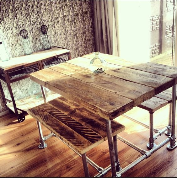 Industrial Style Reclaimed Scaffold Small Dining Table And Benches