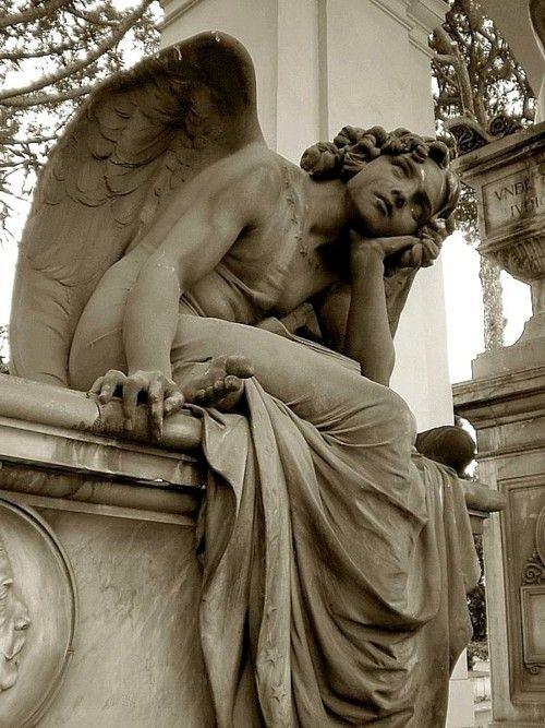 The Angel of the Night (1885) by Giulio Monteverde, Primo Zonca grave, Quadriportico, Verano Monumental Cemetery, Rome