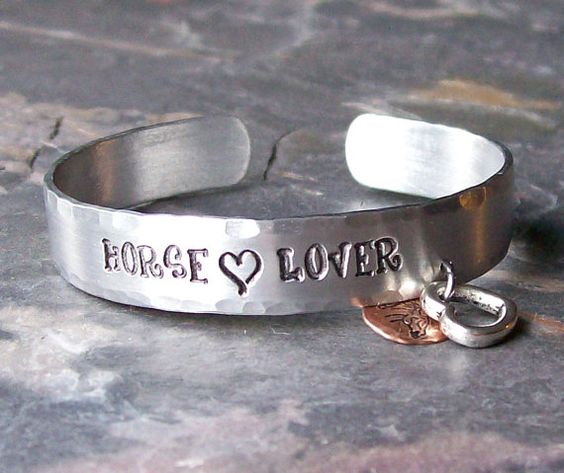 Hand Stamped Horse Lover Aluminum Cuff by EquineExpressionsbyD, $25.00