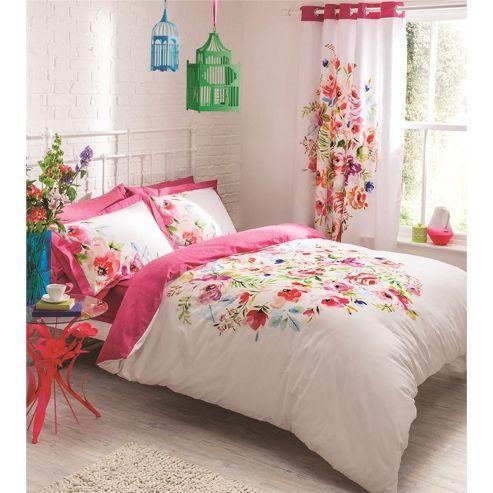 Tesco Direct Catherine Lansfield Bright Floral Duvet Cover Set Single Floral Bedding Sets Floral Bedding Floral Duvet Sets
