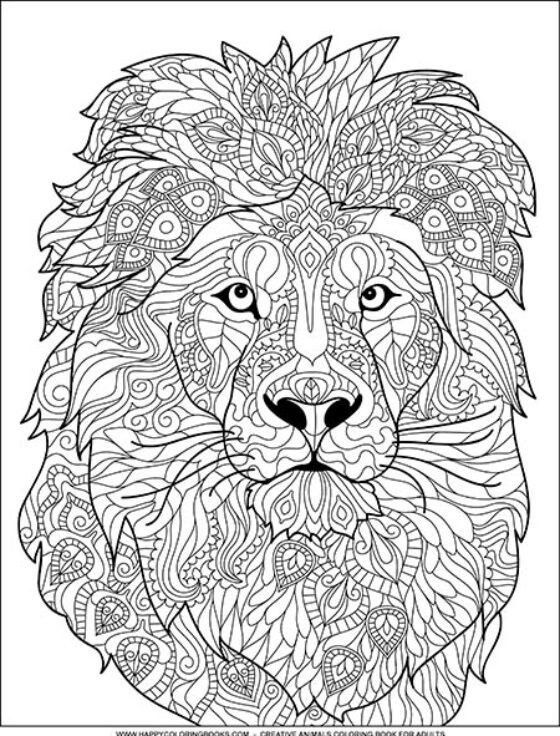 Pin By Elizabeth Means On Coloring Book Lion Coloring Pages Mandala Coloring Pages Animal Coloring Books
