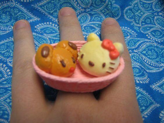 Hello Kitty Bread Basket Ring by MegEMays on Etsy, $8.00