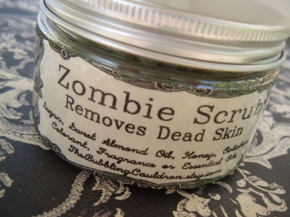 Zombie Scrub - Removes Dead Skin....this will be awesome in my gift basket trophies :)