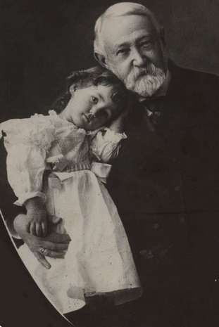 President Benjamin Harrison and his granddaughter. Image found on Pinterest