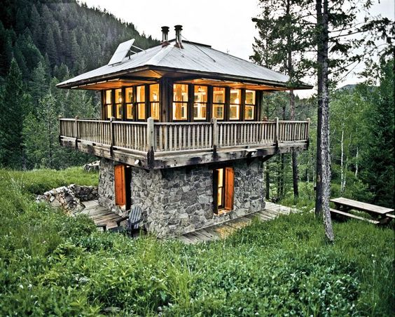 Home the o 39 jays and towers on pinterest for Fire tower cabin plans