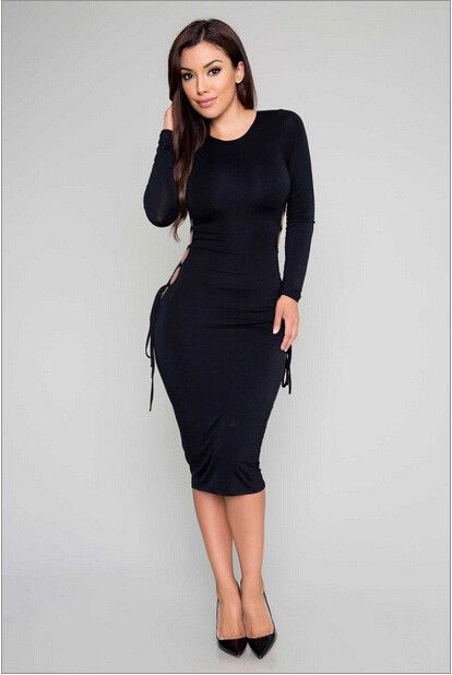 2016 SEXY HOLLOW OUT LONG SLEEVE BLACK BODYCON DRESS WHITE PARTY CROSS HALTER DRESSES