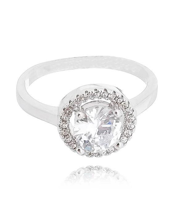 anel solitario redondo com borda cravejada semi joias