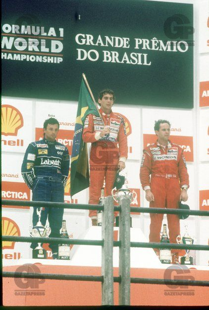 Ayrton on the podium with Patrese and Berger(Brazil,1991)