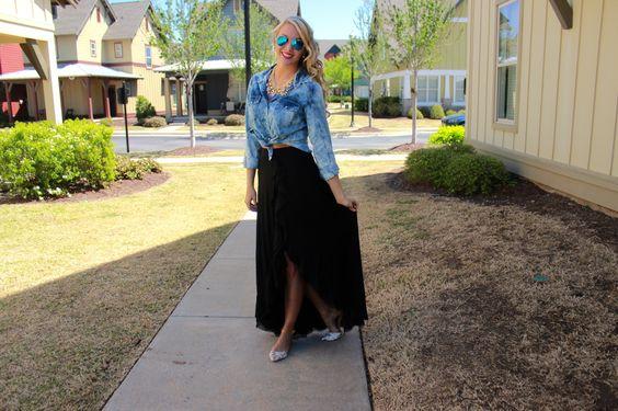 Chambray and maxi skirt