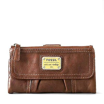 Espresso Brown Fossil Emory Clutch Zip Leather Women Wallet Purse Organizer