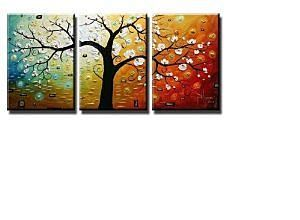See when Wieco Art- 100% Hand Painted Modern Floral Oil Paintings on Canvas Wall Art Deco Home Decoration Tree of Life 3 Pic/set Stretched Ready to Hang is on sale - TrackIf