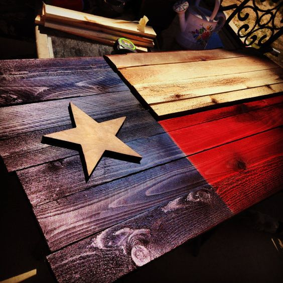 Texas State Flag Aged Wood Hand Cut Rustic Sanded