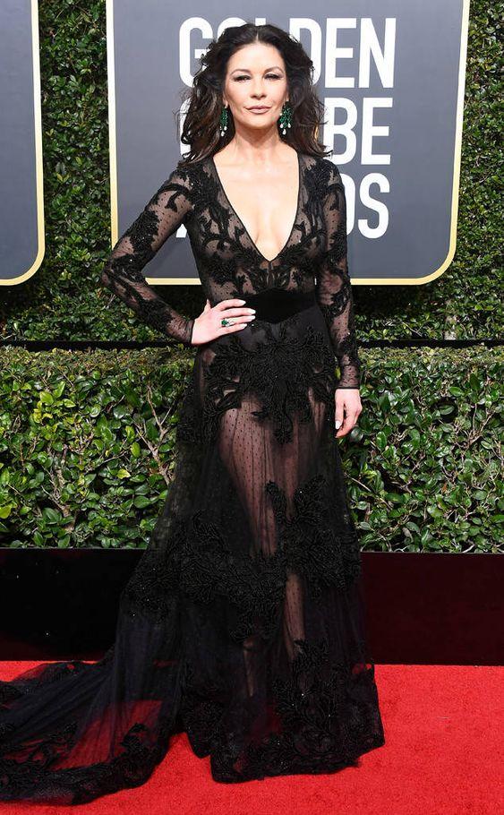 Catherine Zeta-Jones from 2018 Golden Globes Red Carpet Fashion