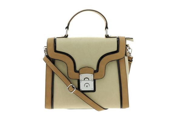 Beige Satchel with Black Patent Trim~ I've got to have this bag!!