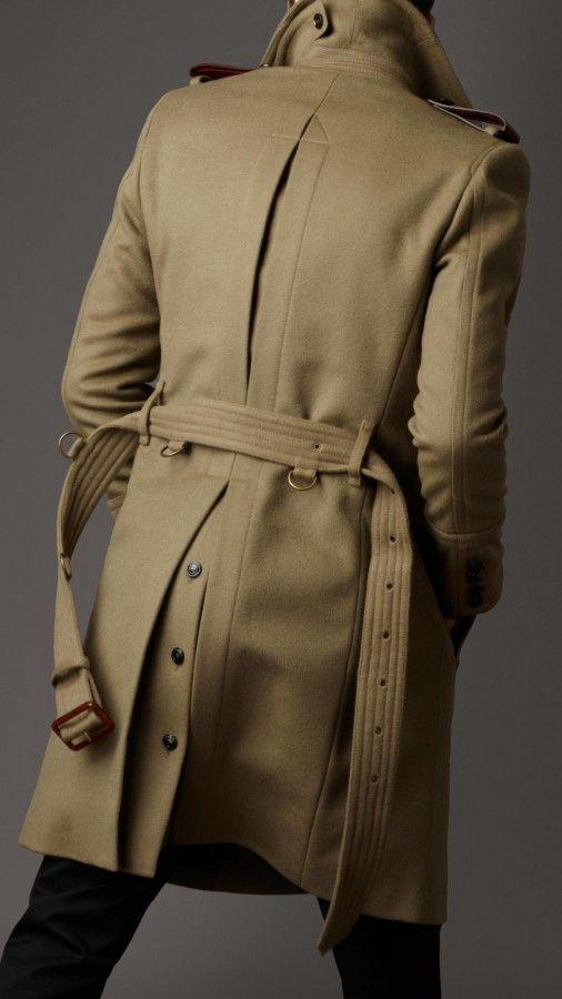 Back Pleat Burberry London Mens Structured Wool Officers