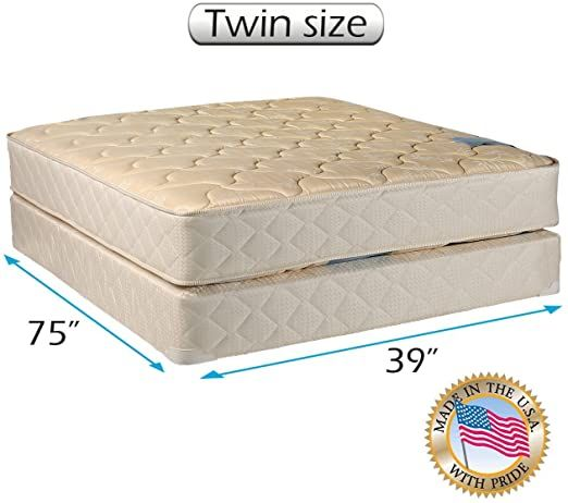 Dream Sleep Chiro Premier Orthopedic Beige Color Twin Size Mattress And Box Spring Set Fully Assembled Good For Your Mattress Twin Mattress Set Spring Set Twin size bed with mattress included