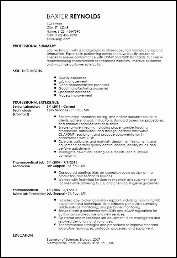 Resume For Lab Technician Lovely Free Traditional Lab Technician