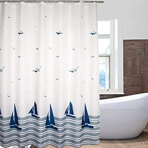 Nautical Striped Sailing Boat Sea Gull Shower Curtain These