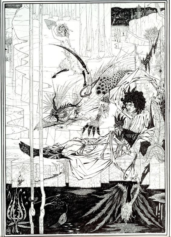 """How King Arthur Saw the Questing Beast"" Aubrey Beardsley."