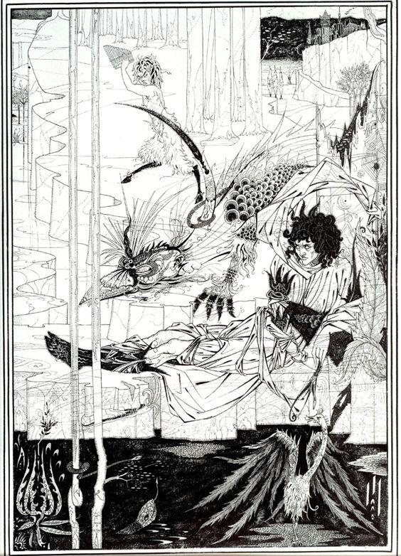 """How King Arthur Saw the Questing Beast"" Aubrey Beardsley."