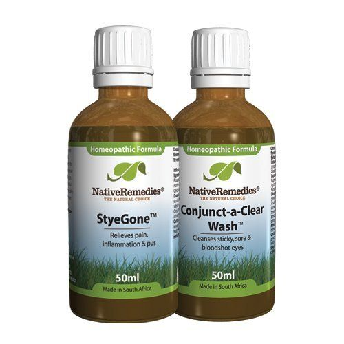 Native Remedies Combo Pack (Styegone 50 ml, Conjunct-A-Clear 50 ml) by Native Remedies. $61.14. StyeGone alleviates burning, stinging and tearing. StyeGone reduces redness, pain, inflammation and light sensitivity. StyeGone relieves eye stye symptoms. A two-product combo pack with a homeopathic remedy for stye pain, inflammation and pus.
