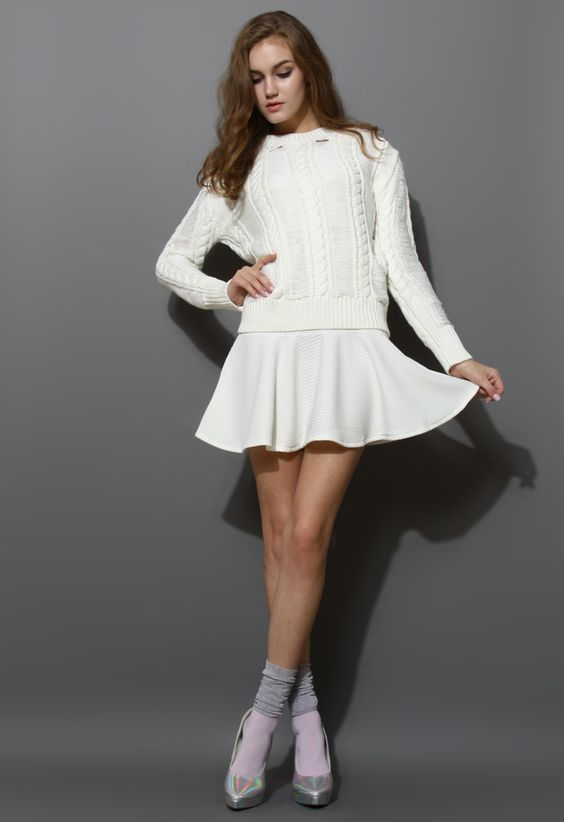 Shredded Cable Knit Twinset Dress in White - New Arrivals - Retro, Indie and Unique Fashion