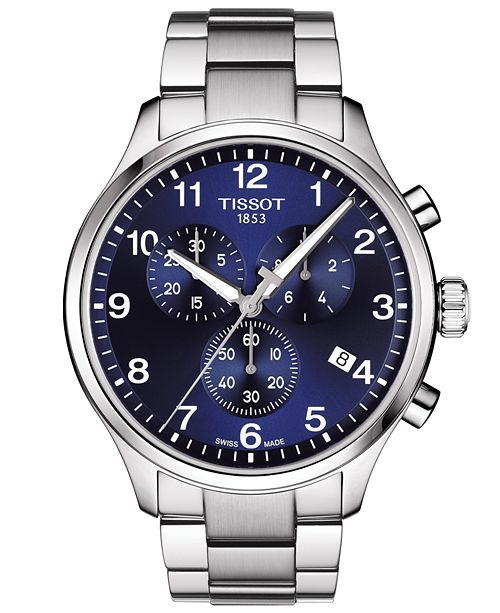 Tissot Men S Swiss Chronograph Chrono Xl Classic T Sport Stainless Steel Bracelet Watch 45mm Reviews All Fine Jewelry Jewelry Watches Macy S Brown Leather Strap Watch Classic Watches