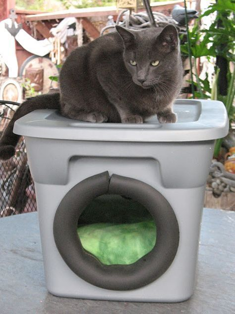 It Has Been Getting So Cold And Rainy Lately That I Wanted A Warm Place For My Outside Kitties To H Outdoor Cat Enclosure Outdoor Cat House Outdoor Cat Shelter
