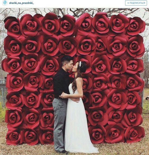 Paper flowers backdrop:
