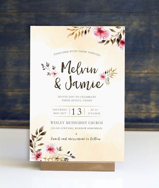 Watercolour Printed Wedding Invitation Card Wedding Invitation