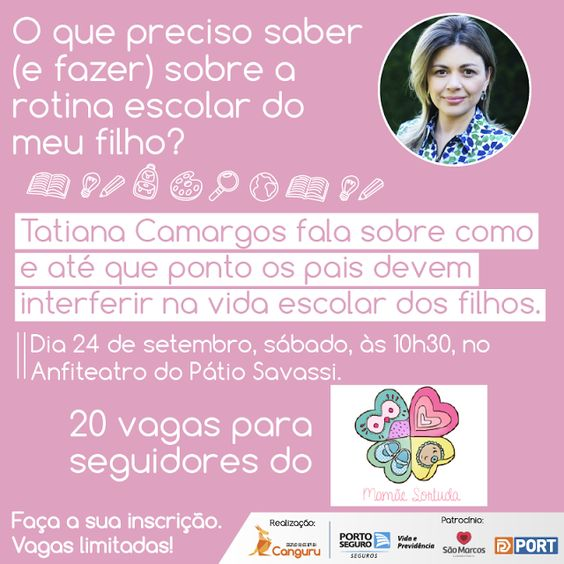 O que preciso saber (e fazer) sobre a rotina escolar do meu filho, Evento, Evento em Belo Horizonte, CanguruBH, Mamãe Sortuda