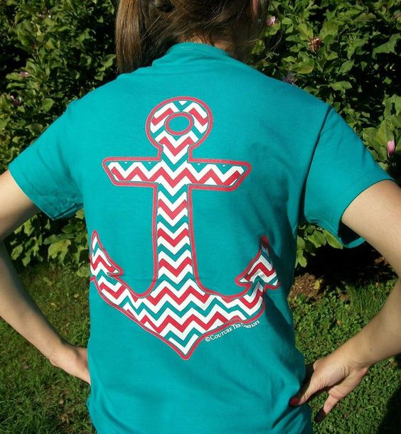 Couture Tee Chevron Anchor Jade Girlie T-Shirt w/ Faux Pocket - Southern Style #CoutureTeeCompany #GraphicTee