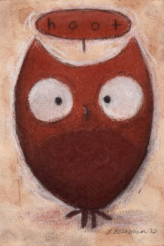 Chubby Bird 40  Original Drawing of Owl by TorpidPorpoise on Etsy, $24.00