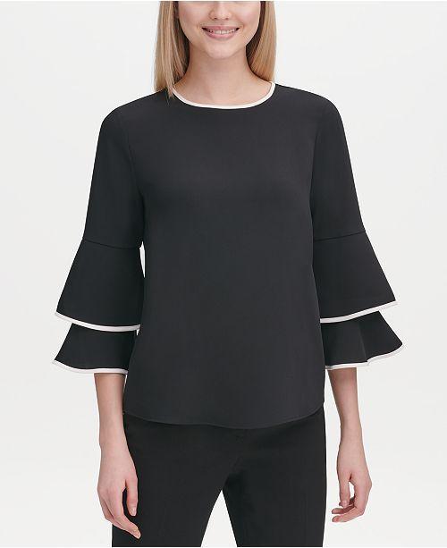 43+ Calvin klein contrast trim bell sleeve dress ideas