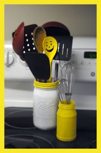 This is a fun way to add color to your kitchen - painted mason jars