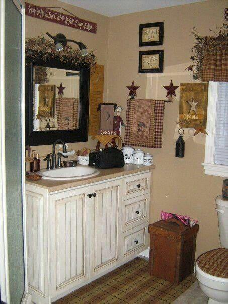 Love primitive :) love this bathroom!!