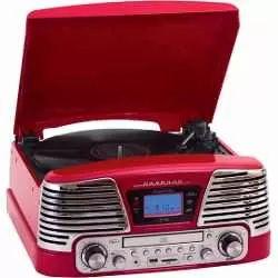 toca discos de vinil retrô fm cd usb sd bivolt - ctx harmony