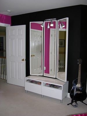 make with 3 cheap mirrors. Woooow. Mind Blown.: Girl Room, Mirror Idea, 3 Way Mirror, Cheap Mirror, Zebra Bedroom, 00 Mirror, House Idea, Dressing Room