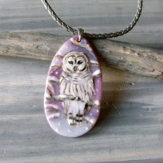 Beautiful Owl in the snow necklace fused glass by ArtoftheMoment: