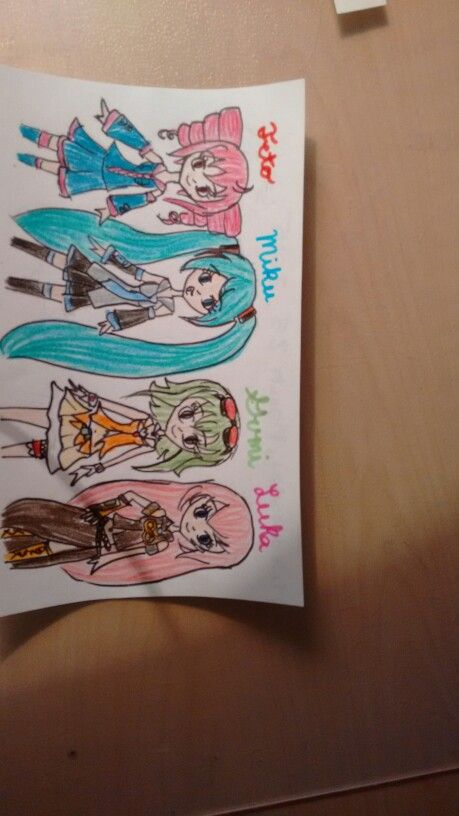 Me and my best friends play these vocaloids (and UTAU) when we try to dance to their songs. I'm Luka :) *10/20/15, I have redrawn this with more skill and copic markers