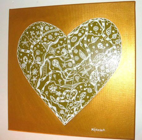 Handpainted heart in green and gold on canvas from mara ceramics