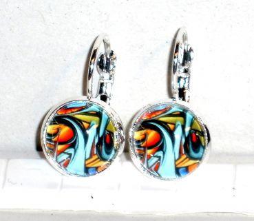 Ohrringe Abstrakt Modeschmuck Glas Cabochon handgefertigt Damen Hänger Ohrschmuck Legierung Neuware